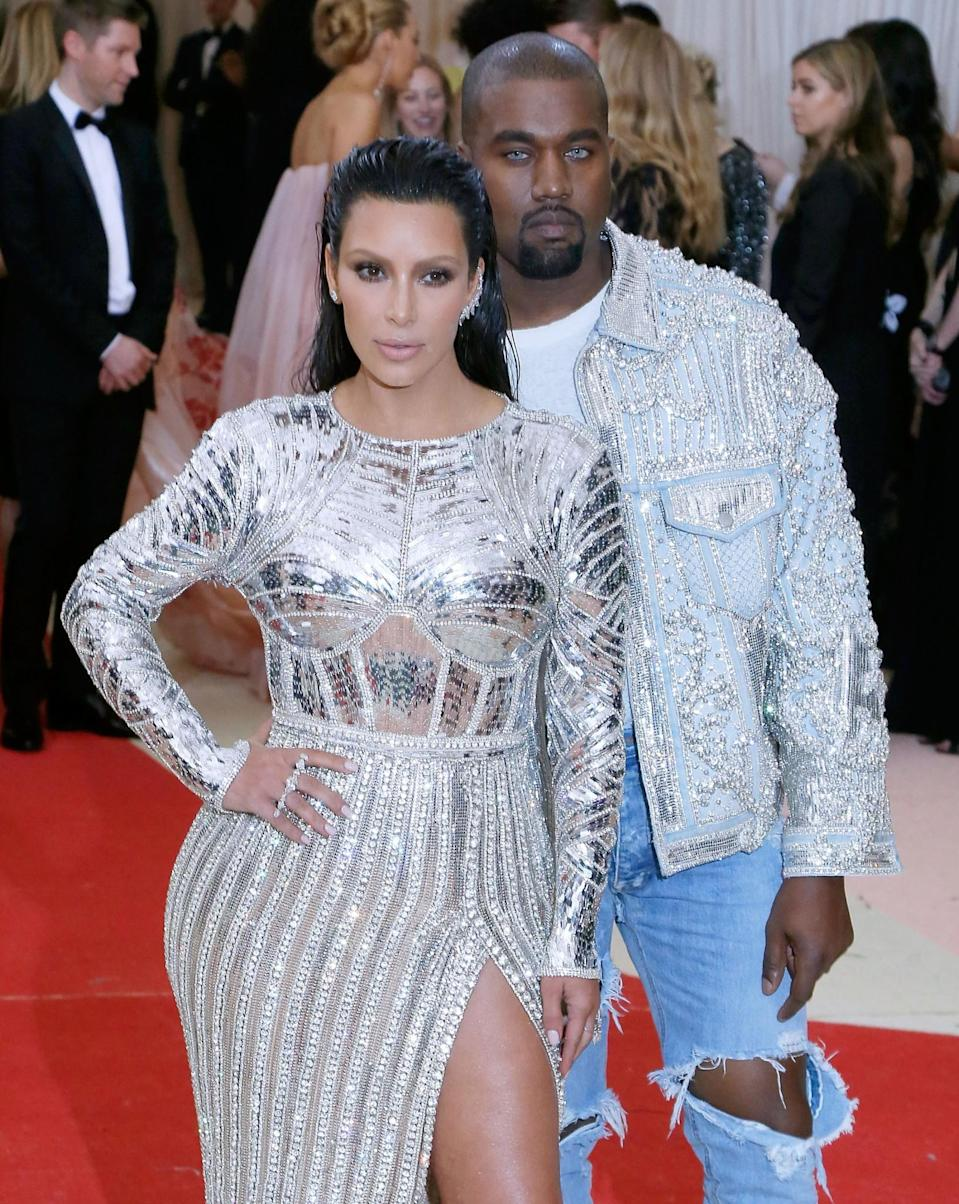 <p>Who told Kanye he should match his irises to his denim? <i>(Photo via Getty Images)</i> </p>