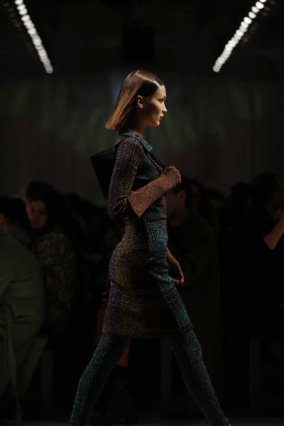Model Bella Hadid wears a creation as part of the Missoni Fall/Winter 2020 collection, presented in Milan, Italy, Saturday, Feb. 22, 2020. (AP Photo/Antonio Calanni)