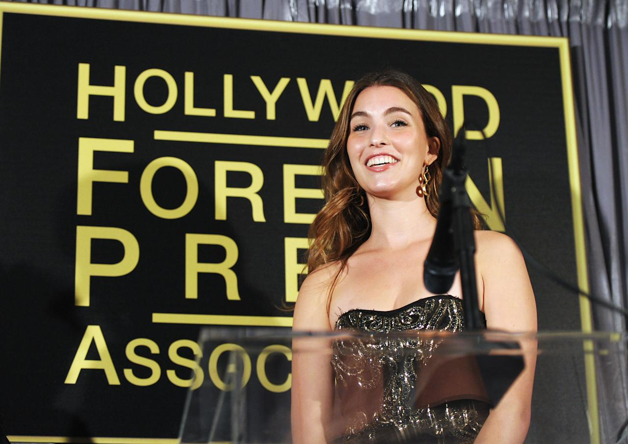 "Rainey Qualley poses onstage at The Hollywood Foreign Press Association and InStyle Celebrate ""A Night of Firsts"" and The New Miss Golden Globe 2012 on December 8, 2011 in Los Angeles, CA. (Photo by John Shearer/Getty Images for InStyle)"