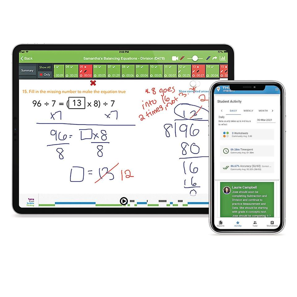 Thinkster Math builds a customized learning plan for each student that includes worksheets and video tutorials.