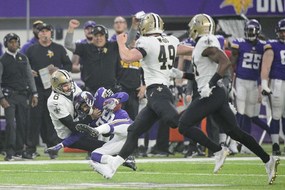Thomas Morstead injured himself on this tackle of Minnesota's Marcus Sherels. But better times were ahead. (Getty)