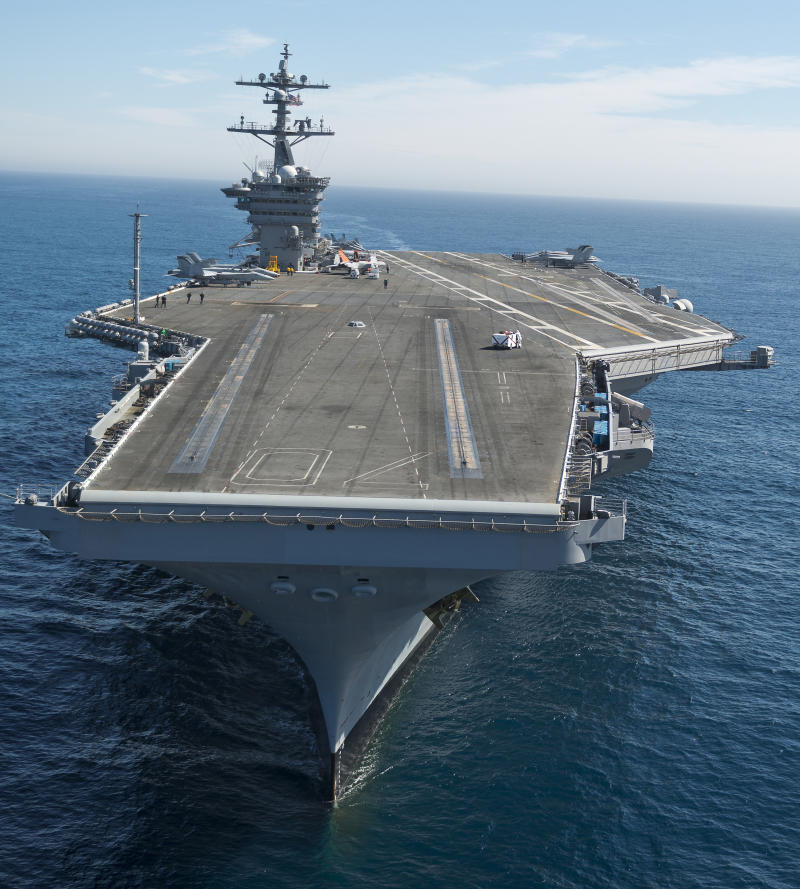 Pacific Ocean, February 15, 2013 - The aircraft carrier USS Carl Vinson is underway conducting Precision Approach Landing System (PALS) and flight deck certifications.