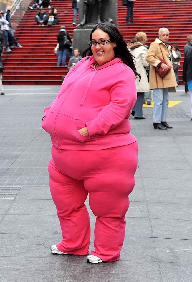 "Not to worry, those extra 300 pounds on ""Real Housewives of New Jersey"" castmember Melissa Gorga are only temporary. The reality star donned the fat suit in New York's Times Square on Monday as part of a special report on discrimination for ""Entertainment Tonight.""   (10/24/2011)"
