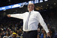 FILE - In this Dec. 16, 2017, file photo, Steve Forbes, then coach for East Tennessee State, gestures during the first half of the team's NCAA college basketball game against Xavier in Cincinnati. Forbes spent the past five seasons at East Tennessee State before taking over the Wake Forest program. (AP Photo/John Minchillo, File)