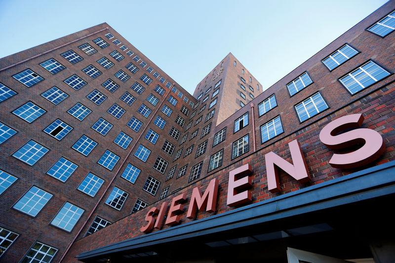 The Siemens logo is seen on a building in Siemensstadt in Berlin