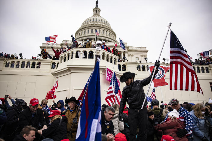 Protrump supporters will attack the US Capitol after rallying with President Donald Trump in Washington, DC on January 6, 2021.  (Samuel Corum / Getty Images)