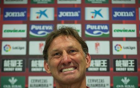 Former Arsenal and England captain Tony Adams reacts after being presented as the new head coach of Spanish first division soccer club Granada in Granada, Spain April 11, 2017. REUTERS/Pepe Marin