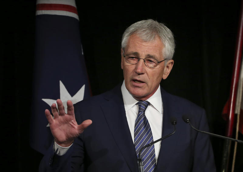 US Secretary of Defense Chuck Hagel speaks during a press conference in Sydney on August 11, 2014
