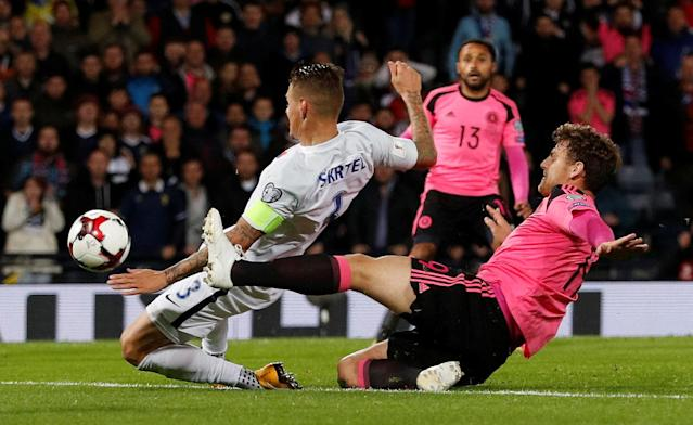Soccer Football - 2018 World Cup Qualifications - Europe - Scotland vs Slovakia - Hampden Park, Glasgow, Britain - October 5, 2017 Scotland's Chris Martin scores their first goal Action Images via Reuters/Lee Smith