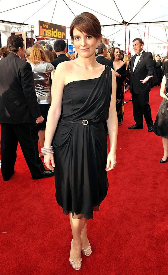 "Tina Fey, the star and scribe behind ""30 Rock,"" rocks her flirty Alberta Ferretti cocktail dress. After tonight's win for her role as the unlucky-in-life Liz Lemon, she'll need to make a little more room on her mantle for another trophy. Lester Cohen/<a href=""http://www.wireimage.com"" target=""new"">WireImage.com</a> - January 27, 2008"