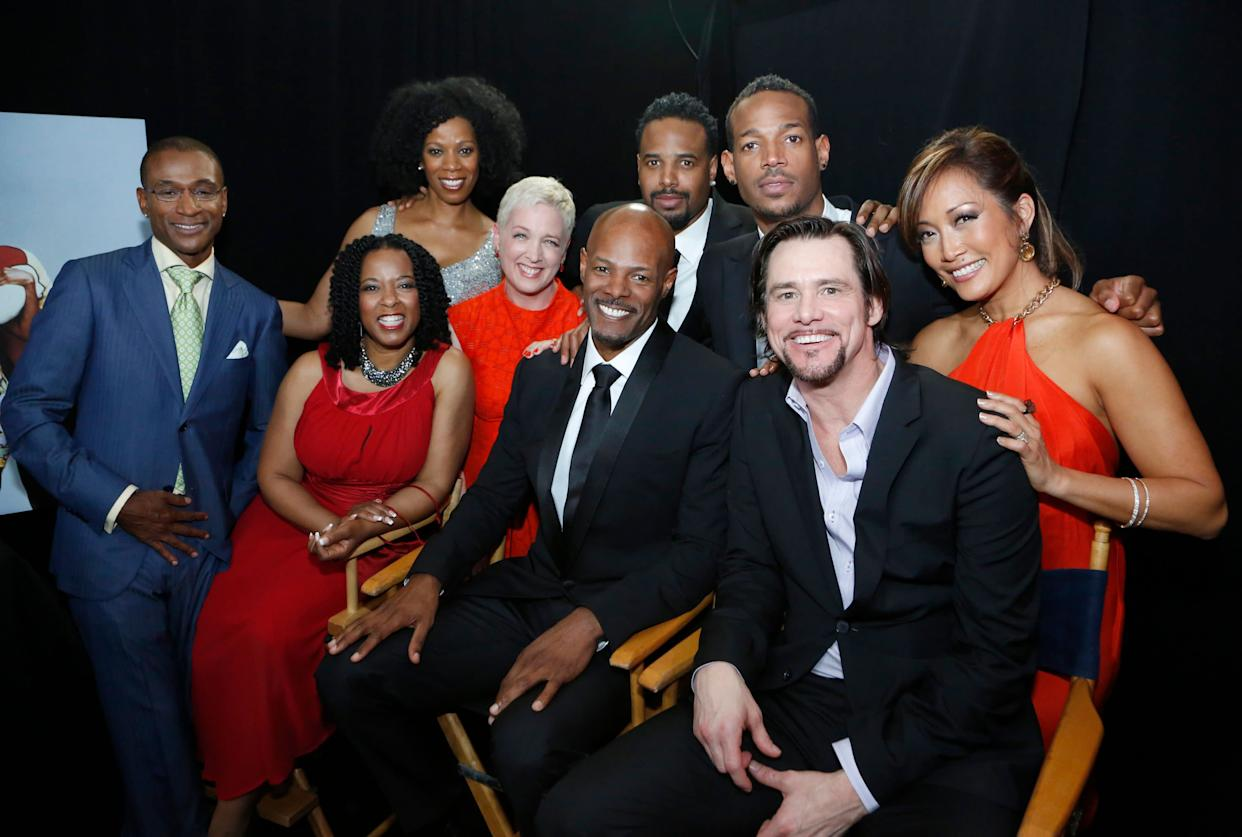 """""""In Living Color"""" cast members (from left) Tommy Davidson, T'Keyah Crystal Keymah, Kim Wayans, Kelly Coffield Park, Keenen Ivory Wayans, Shawn Wayans, Marlon Wayans, Jim Carrey and Carrie Ann Inaba in 2012. (Photo: Heidi Gutman via Getty Images)"""