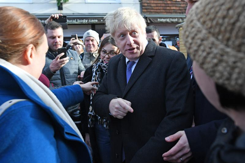 Prime Minister Boris Johnson during a walkabout at a Christmas Market in Salisbury, whilst on the General Election campaign trail.