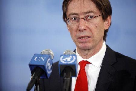 German Ambassador to the United Nations Peter Wittig speaks to the media after a U.N. Security Council meeting in New York February 4, 2012. REUTERS/Allison Joyce