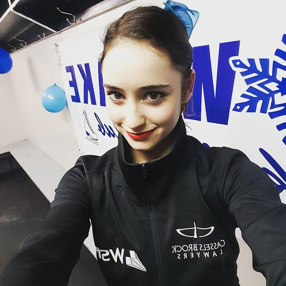 <p>In Sochi, she skated in both segments of the team event, helping Canada win a silver medal. (Photo via Instagram/kaetkiss) </p>