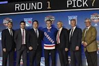 June 23, 2017; Chicago, IL, USA; Lias Andersson poses for photos after being selected as the number seven overall pick to the New York Rangers in the first round of the 2017 NHL Draft at the United Center. Mandatory Credit: David Banks-USA TODAY Sports