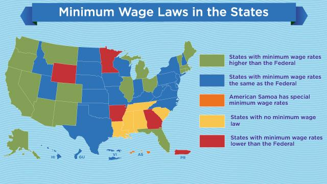 Petitions To Raise Minimum Wage States With Highest Lowest Wages - Minimum wage map us