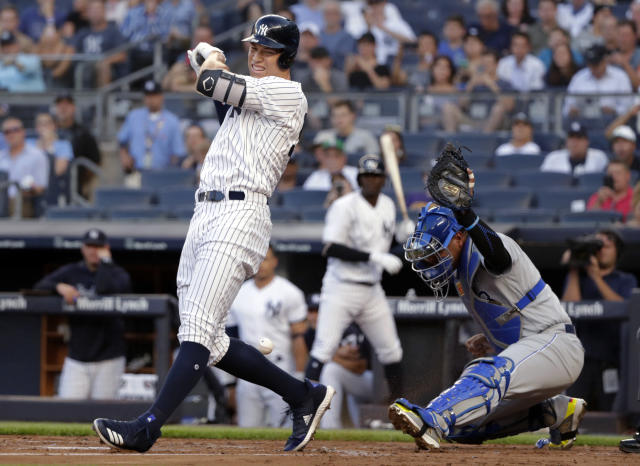 New York Yankees' Aaron Judge reacts after being hit by a pitch during the first inning of the team's baseball game against the Kansas City Royals on Thursday, July 26, 2018, in New York. The Yankees won 7-2. (AP Photo/Frank Franklin II)