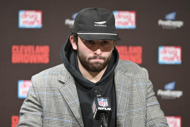 Cleveland Browns quarterback Baker Mayfield answers questions during a news conference after the Baltimore Ravens defeated his team in an NFL football game, Sunday, Dec. 22, 2019, in Cleveland. (AP Photo/David Richard)