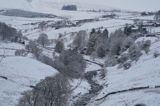 Snow covers the hills near Kilhope, on the border between Northumberland and Durham