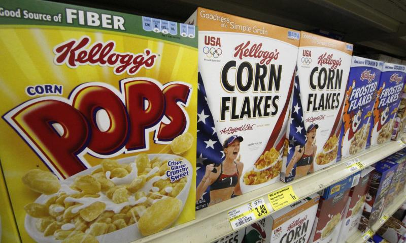 FILE- In this July 18, 2012, file photo, Kellogg's cereal is on display at a grocery market in  Pittsburgh. Kellogg is hoping it can finally turn cereal into a breakfast staple in China. The maker of Frosted Flakes, Pop-Tarts and Eggo waffles announced Monday, Sept. 24, 2012,  that it formed a joint venture to expand the distribution of its cereals and snacks in the country as early as next year. The breakfast giant says the deal will tap the infrastructure and local expertise of Wilmar International, a Singapore-based agribusiness. The Battle Creek, Mich.-based company (AP Photo/Gene J. Puskar)