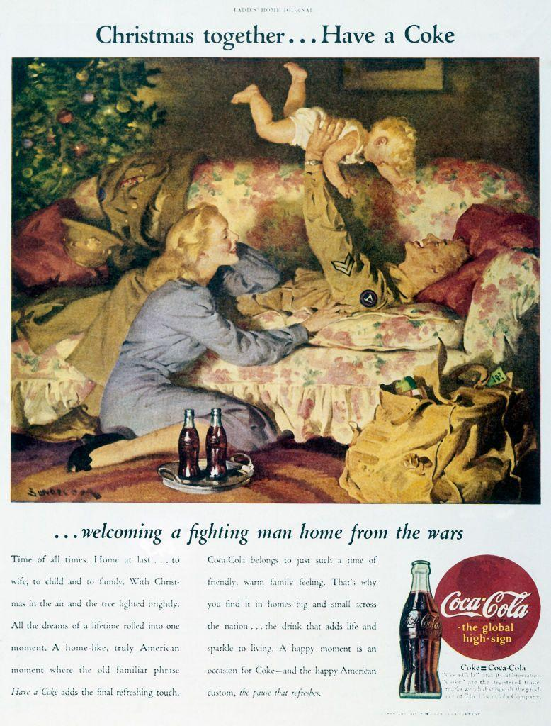 "<p>As World War II came to an end in 1945, Coca-Cola inspired families to reunite with a nice cold soda in hand. As the holiday advertisement read, ""Christmas together... Have a Coke... welcoming a fighting man home from the wars."" </p>"