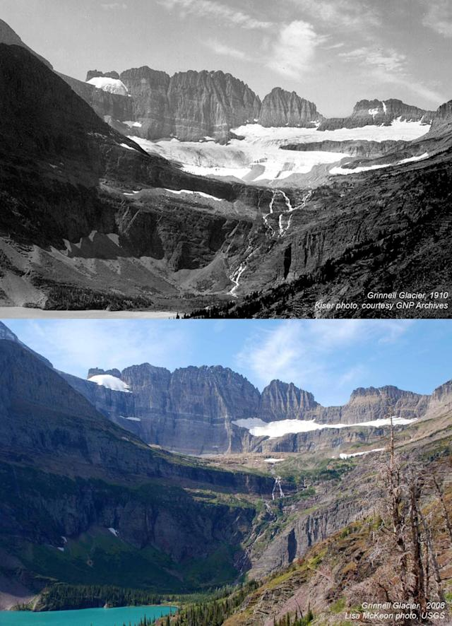 Montana's Grinnell Glacier in 1910 (top) and in 2008. (Photos: Kiser Photo/GNP Archives, Lisa McKeon/USGS)