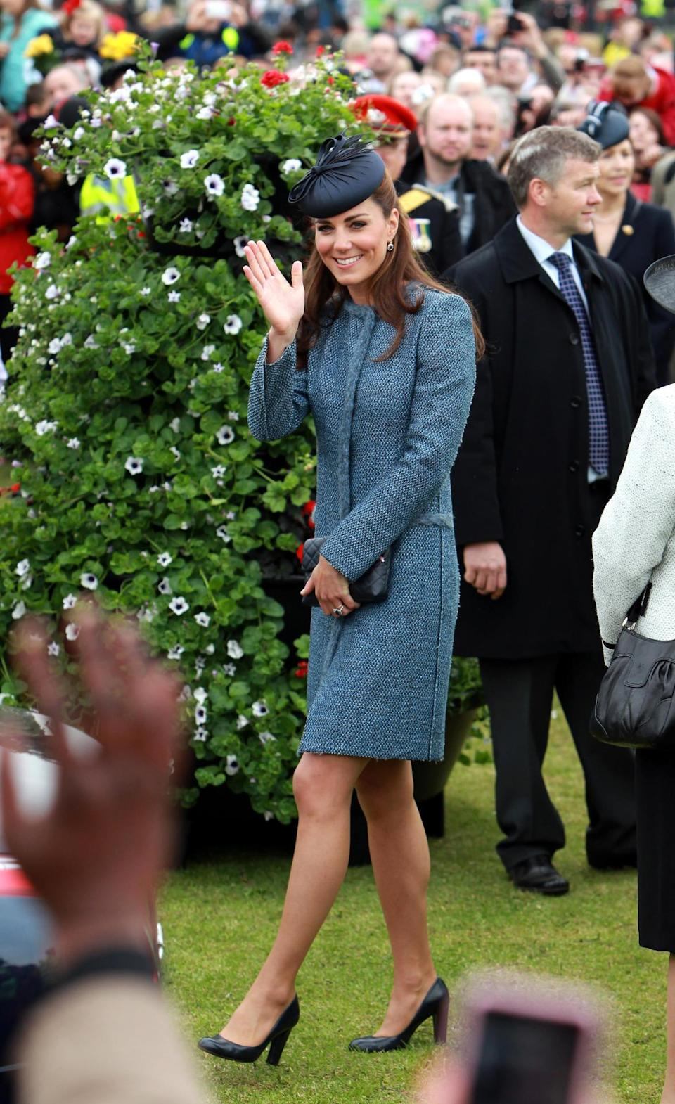 <p>During a trip to Nottingham, the Duchess wore a blue tweed Missoni coat with a chic black hat. She carried a quilted leather bag by Jaeger and finished with L.K. Bennett pumps.</p><p><i>[Photo: PA]</i></p>