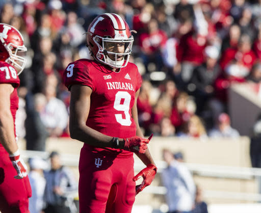 FILE - In this Saturday, Oct. 20, 2018, file photo, Indiana quarterback Michael Penix Jr. (9) looks to the sideline during the first half of an NCAA college football game in Bloomington, Ind. Coach Tim Allen's biggest decision will be choosing a quarterback. Peyton Ramsey has made 16 starts over the last two seasons and will be seriously challenged by redshirt freshman Michael Penix Jr., who is coming back from a torn anterior cruciate ligament, and Jack Tuttle, who transferred from Utah. (AP Photo/Doug McSchooler, File)