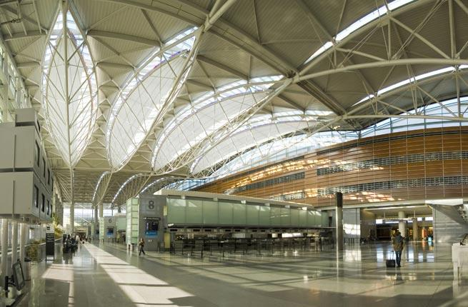 "<p><strong>Where: </strong>San Francisco, CA</p>  <p>Think of as the recycled airport—but in a good way. Architecture firm Gensler tackled a $383 million renovation of the terminal, with a focus on being green. The result is the first terminal in the US to achieve LEED gold status. Building material from the old terminal was reused, and passengers can refill water bottles at ""hydration stations"" around the terminal. SFO also doubles as an accredited art museum; look out for the hanging sculptures and rotating art exhibits. There's also dedicated play areas for children and a yoga room. Even the shops and restaurants are cool. Take your pick from Kiehl's, Pinkberry, or Vino Volo wine bar.</p>  <p><strong>Plan Your Trip: </strong>Visit </p>"