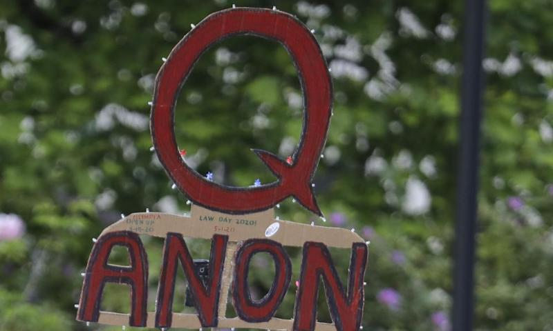 A QAnon sign at a protest in the US. Australia has the second largest group of Qanon followers outside the US.