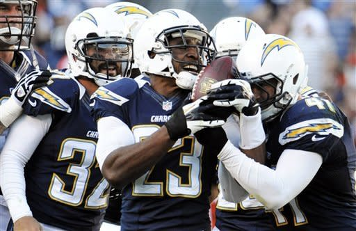 San Diego Chargers cornerback Quentin Jammer, center, jokes with defensive back Corey Lynch, right, free safety Eric Weddle, second from left, and other members of the defense after Lynch grabbed an interception and Jammer tipped the ball against the Cincinnati Bengals during the second half of an NFL football game, Sunday, Dec. 2, 2012, in San Diego. (AP Photo/Denis Poroy)