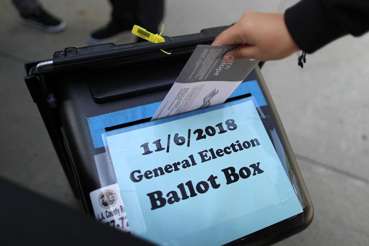 A ballot is cast in Norwalk, Calif., on Wednesday. (Photo: Lucy Nicholson/Reuters)