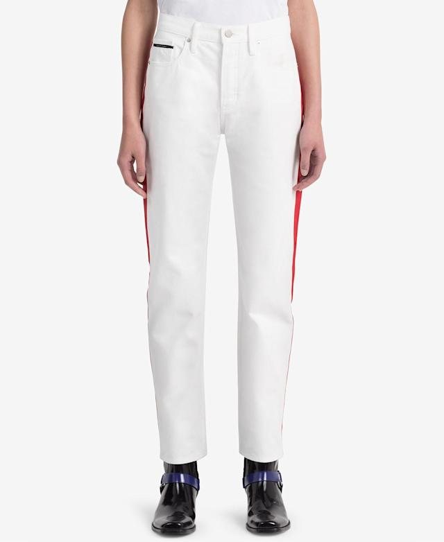 "<p>Striped White Straight Jeans, $90 (on sale with code: VIP, valid until March 25 only, orig. $128), <a href=""https://www.macys.com/shop/product/calvin-klein-jeans-striped-white-straight-jeans?ID=5904497&CategoryID=3111&RVI=Search_4&tdp=cm_choiceId~z5904497~xcm_pos~zPos4"" rel=""nofollow noopener"" target=""_blank"" data-ylk=""slk:macys.com"" class=""link rapid-noclick-resp"">macys.com </a> </p>"