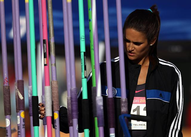 GUADALAJARA, MEXICO - OCTOBER 27: Leryn Franco of Paraguay prepares to compete in the women's javelin throw final during Day 13 of the XVI Pan American Games at Telmex Athletics Stadium on October 27, 2011 in Guadalajara, Mexico. (Photo by Scott Heavey/Getty Images)