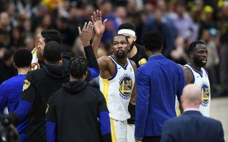 Jun 6, 2018; Cleveland, OH, USA; Golden State Warriors forward Kevin Durant (35) celebrates during a timeout against the Cleveland Cavaliers during the fourth quarter in game three of the 2018 NBA Finals at Quicken Loans Arena. Mandatory Credit: Ken Blaze-USA TODAY Sports