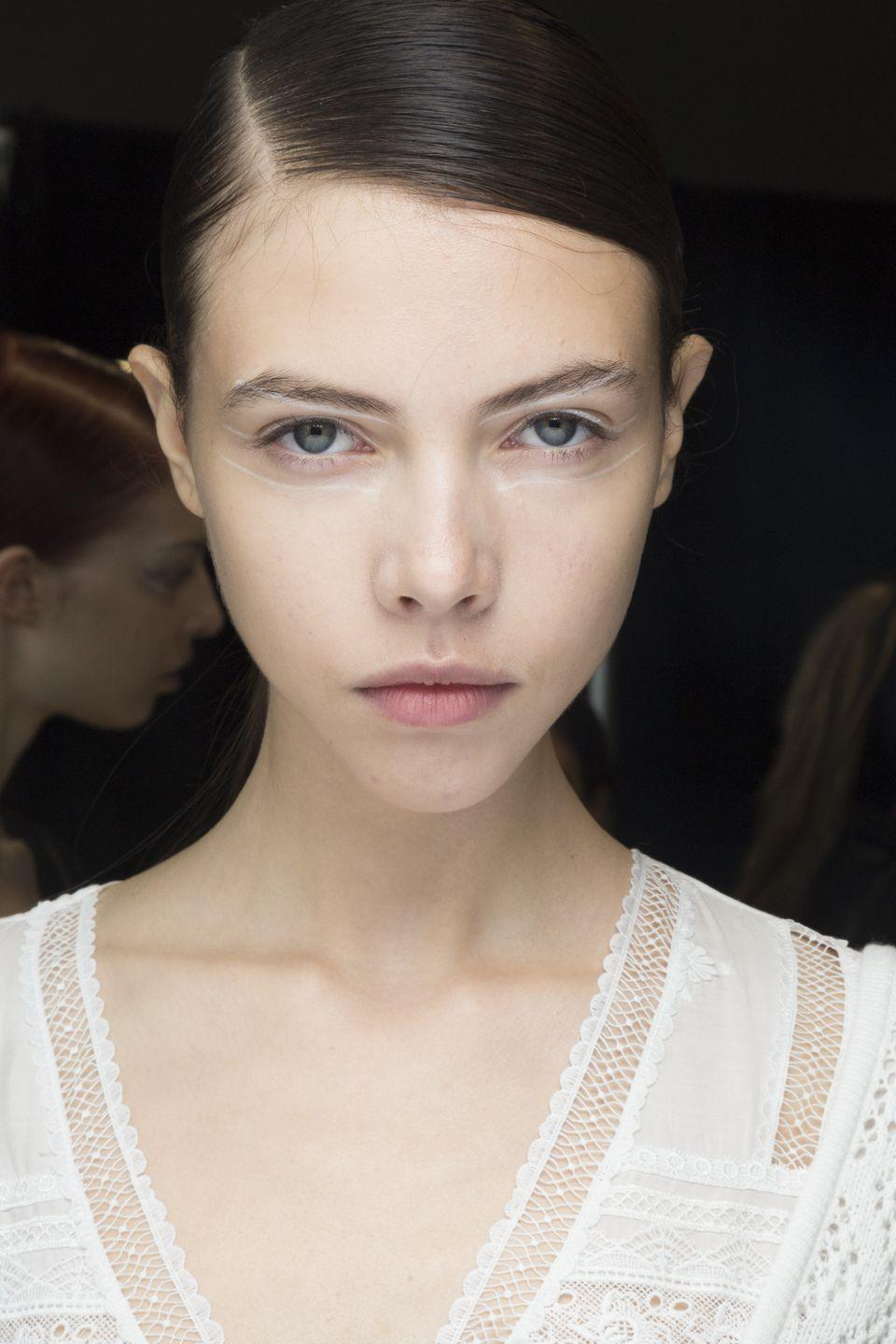 <p>Fresh-faced models at Self Portrait got scribbled white lines of liner drawn around their eyes.</p>