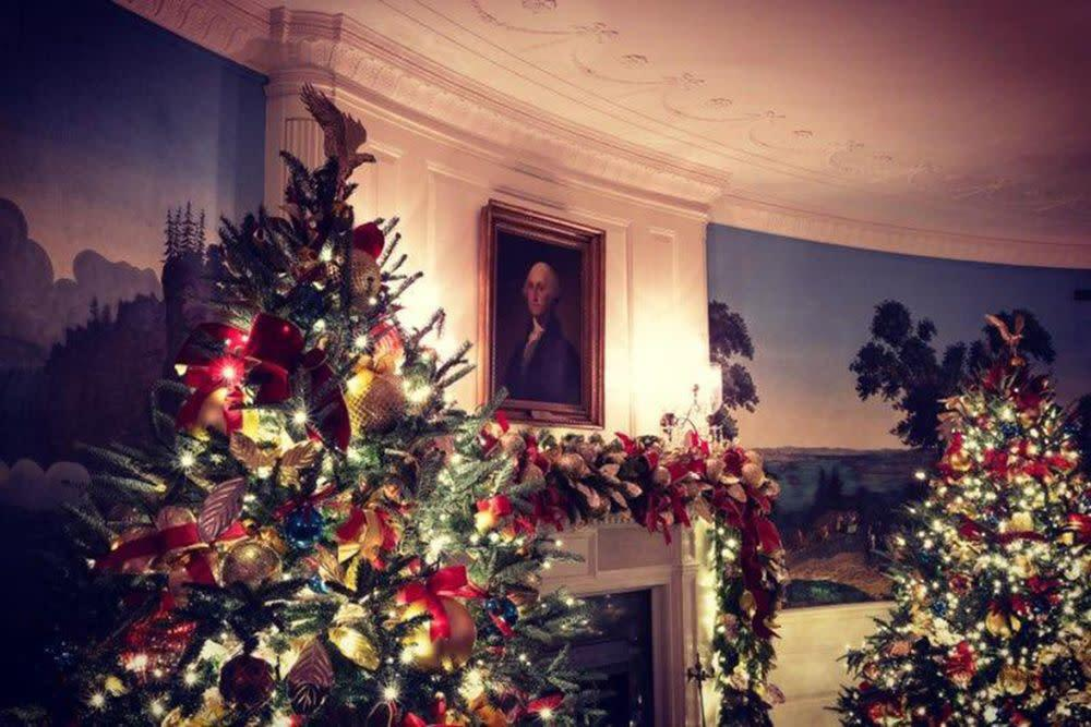 Image result for Melania Trump Debuts New White House Christmas Decorations After Last Year's Meme-able Blood-Red Decor