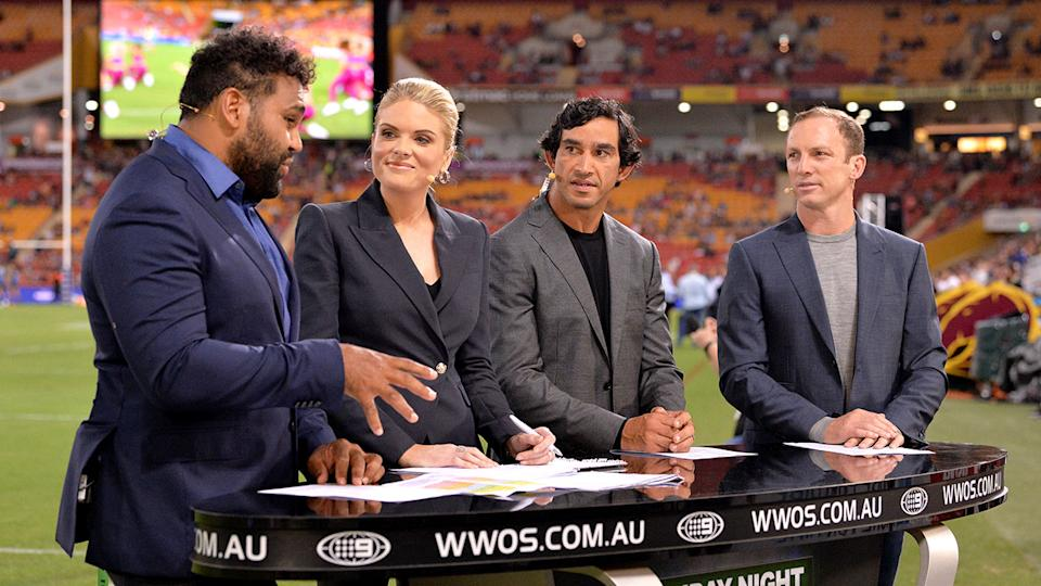 Sam Thaiday is seen here giving his thoughts on Channel Nine's NRL coverage.