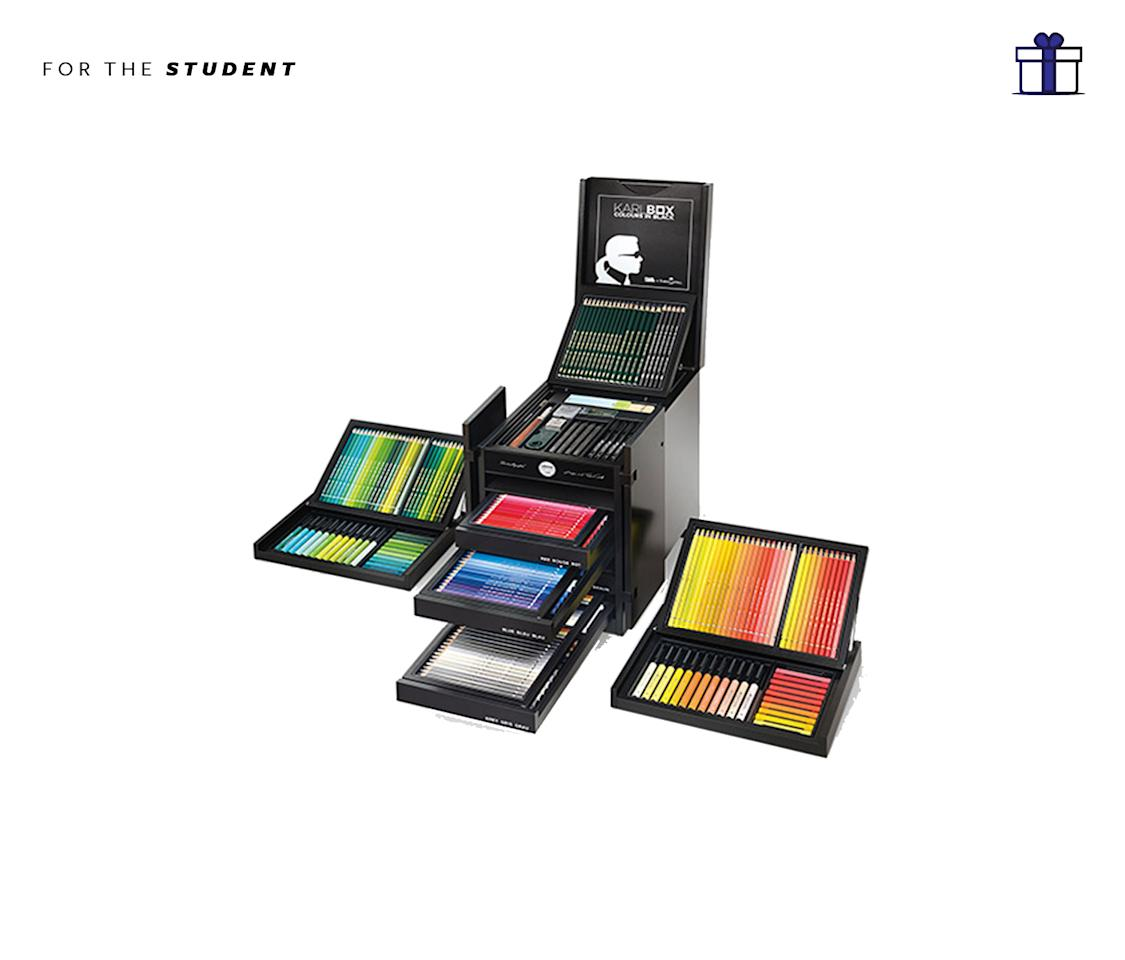 """<p>We know this might be a tad excessive for a student BUT hear us out! This limited-edition art box designed by Karl Lagerfeld has over 350 Faber-Castell tools for drawing and painting and we all know if you were to buy each of these items separately, it would also be a hefty sum. And this way, you get it altogether in a sleek black wooden box that looks like a Chinese wedding cabinet. And did we mention it is limited edition and only 2500 have been produced? Karlbox, $2850, <a rel=""""nofollow"""" href=""""https://store.moma.org/museum/moma/ProductDisplay_Karlbox_10451_10001_244949_-1_26707_26707_244952"""">Moma.org</a> </p>"""
