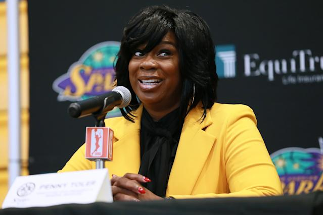 "<a class=""link rapid-noclick-resp"" href=""/wnba/teams/los"" data-ylk=""slk:Los Angeles Sparks"">Los Angeles Sparks</a> General Manager Penny Toler is at the center of more issues stemming from the semifinal sweep. (Photo by Leon Bennett/Getty Images)"