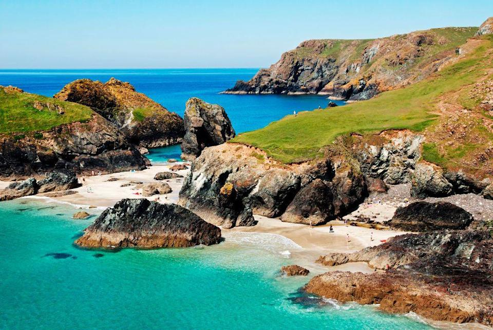 <p>One of UK's most photographed beaches, Kynance Cove sits on the scenic Lizard Peninsular in Cornwall. There's plenty of caves, coves and bathing pools to explore, but if you're visiting in summer, make sure you get there early.</p>