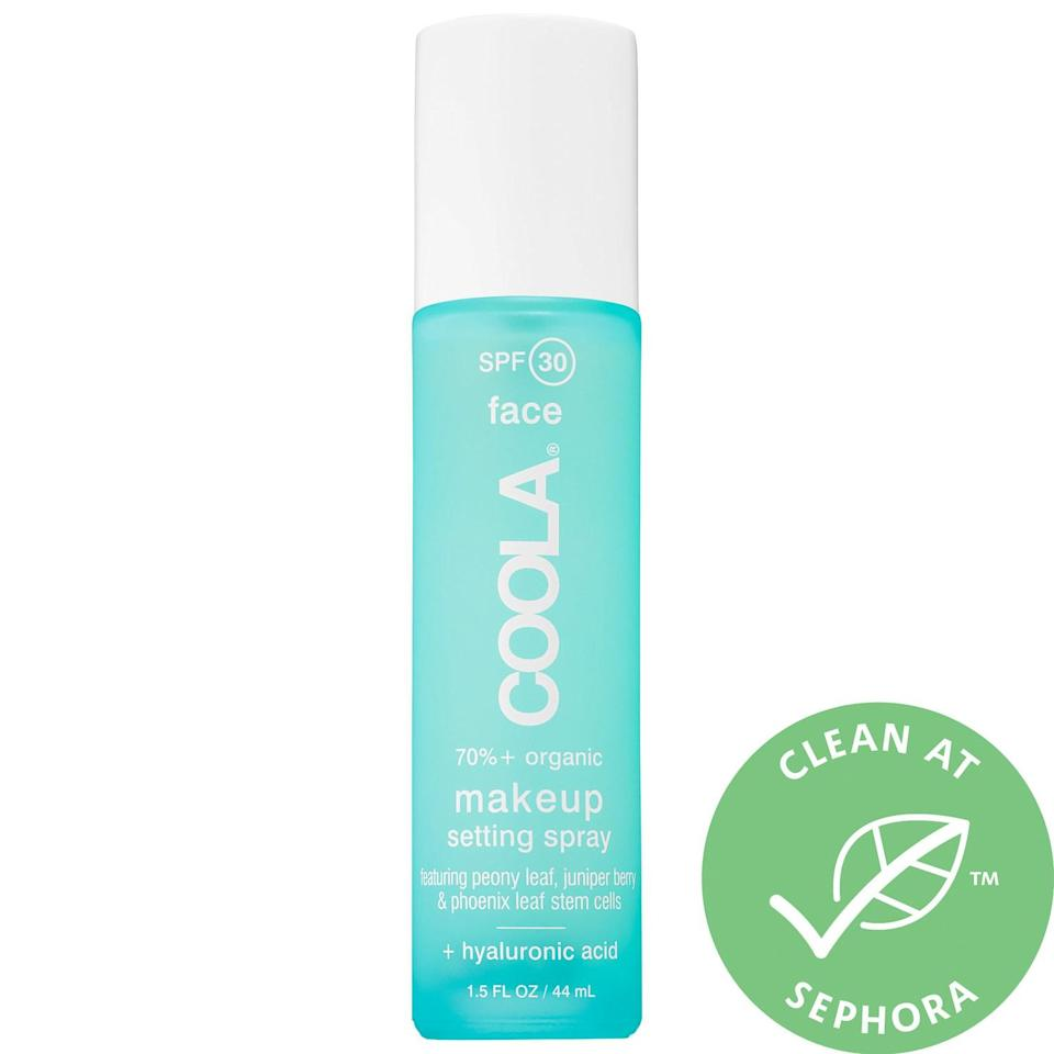 """<h2>Coola Makeup Setting Spray SPF 30 <br></h2><br>Spritz on this SPF 30 formula for a long-wearing mattifying effect and a boost from skin-care ingredients like aloe vera and hyaluronic acid.<br><br><strong>Coola</strong> Makeup Setting Spray SPF 30, $, available at <a href=""""https://go.skimresources.com/?id=30283X879131&url=https%3A%2F%2Fwww.sephora.com%2Fproduct%2Fmakeup-setting-spray-spf30-P396623"""" rel=""""nofollow noopener"""" target=""""_blank"""" data-ylk=""""slk:Sephora"""" class=""""link rapid-noclick-resp"""">Sephora</a>"""