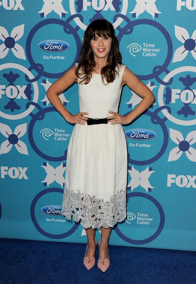 SANTA MONICA, CA - SEPTEMBER 09: Actress Zooey Deschanel arrives at the Fox Fall Eco-Casino Party at The Bungalow on September 9, 2013 in Santa Monica, California. (Photo by Kevin Winter/Getty Images)