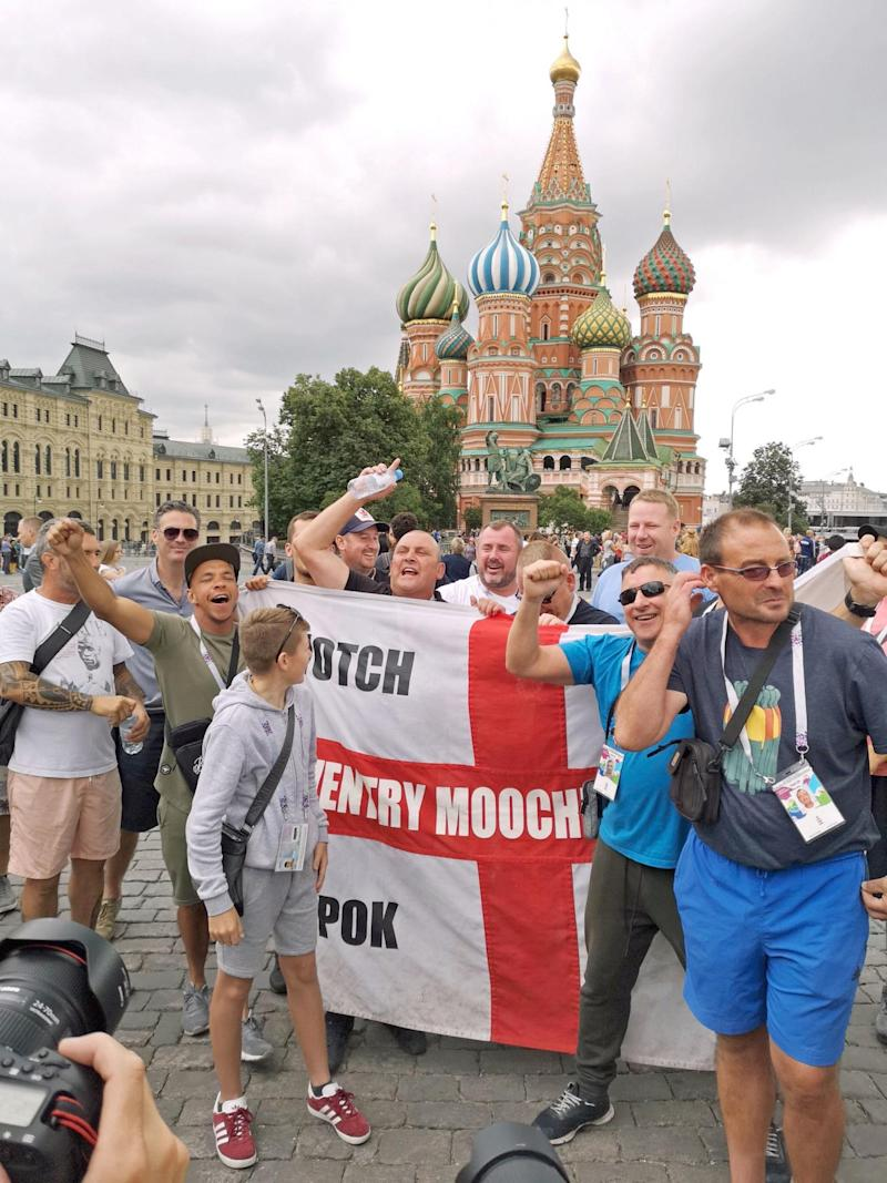 England fans make a last minute dash to Moscow (PA)
