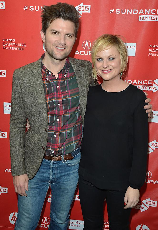 """PARK CITY, UT - JANUARY 23:  Actors Adam Scott and Amy Poehler attend the """"A.C.O.D"""" Premiere during the 2013 Sundance Film Festival at Eccles Center Theatre on January 23, 2013 in Park City, Utah.  (Photo by George Pimentel/Getty Images)"""