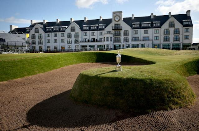 Carnoustie Golf Links, with the Claret Jug in the foreground. (Getty)