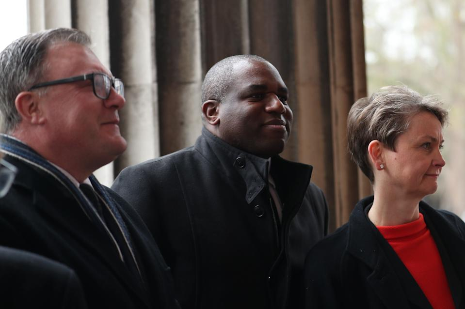 Ed Balls and his wife Yvette Cooper arrive with David Lammy (centre), arrive for the funeral of Frank Dobson at St Pancras Church in London. (Photo by Yui Mok/PA Images via Getty Images)