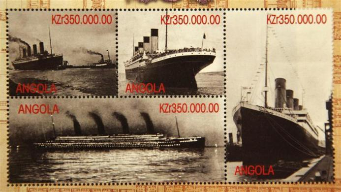 Commemorative Titanic stamps from Angola, part of a collection of enthusiast Kenneth Mascarenhas.