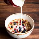 """<p>Milk is a hydrating protein-rich liquid and full of important minerals like calcium and potassium. It's also naturally high in riboflavin and fortified with vitamin D, which <a href=""""https://www.ncbi.nlm.nih.gov/pmc/articles/PMC7019347/"""" rel=""""nofollow noopener"""" target=""""_blank"""" data-ylk=""""slk:some research suggests"""" class=""""link rapid-noclick-resp"""">some research suggests</a> may reduce the frequency of headaches in people with migraine. In fact, <a href=""""https://www.sciencedirect.com/science/article/abs/pii/S0965229919308921"""" rel=""""nofollow noopener"""" target=""""_blank"""" data-ylk=""""slk:research has found"""" class=""""link rapid-noclick-resp"""">research has found</a> an inverse relationship between dairy consumption and headache frequency in general. That said, dairy can be pro-inflammatory for certain people, says Dr. Diamond. """"I always think keeping a headache diary or a headache journal is important because it's really difficult to say a food is a trigger if you don't keep track of it to see if it really has an impact or not,"""" she says. So, if after logging your food intake for a few weeks, dairy seems to be a trigger for you, then it's smart to avoid it.</p>"""