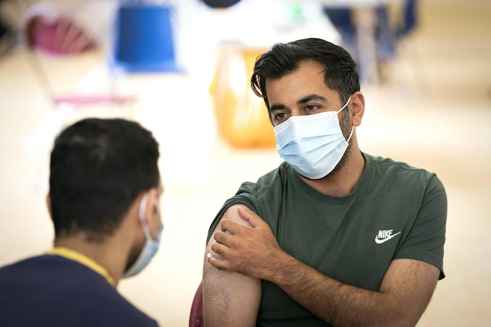 Humza Yousaf receives his second dose of the BioNTech Pfizer Covid-19 vaccine (Jane Barlow/PA) (PA Wire)